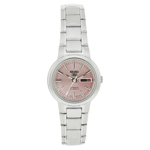 Seiko Women's 5 Automatic SYME41K Silver Stainless-Steel Automatic Watch with Pink Dial