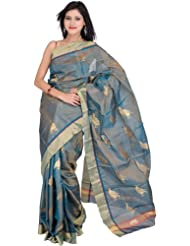 Exotic India Ivy-Green Tissue Chanderi Sari With Hand-woven Pigeons All- - Green