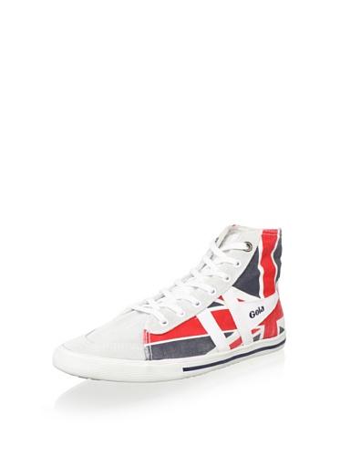 Gola Quota High Union Jack Women's Canvas Sneaker, White/Navy/Red, 8 M US