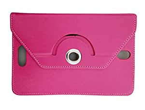 Fastway Rotating 360Deg Leather Flip Stand Cover For Micromax Funbook P365 -Pink