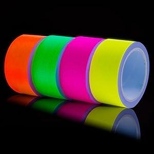 4 x Neon Gewebeband UV-Tape fluoreszierend 50 mm Schwarzlicht Gaffatape Klebeband Panzerband Panzertape Dekoration Gaffa Band Pink Grün Gelb Orange