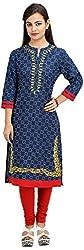 Khushi Garments Women's Cotton Regular Fit Kurta (Khushi01_L, Blue, Large)