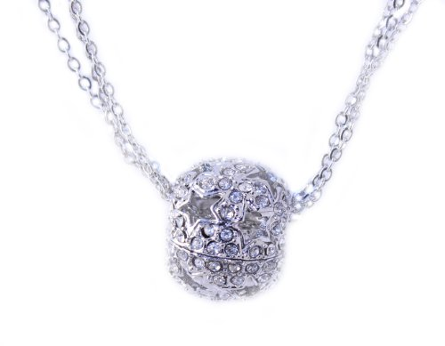 Silver Tone Clear Crystal Ball Open Star Charm Multi-chain Necklace -Thanksgiving Sale