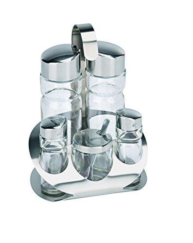 Menage (Hauteur?: 18cm) en chrome nickel acier/verre-5pièces,, la Moutarde Verre Huile et Vinaigre, Sel et Poivre
