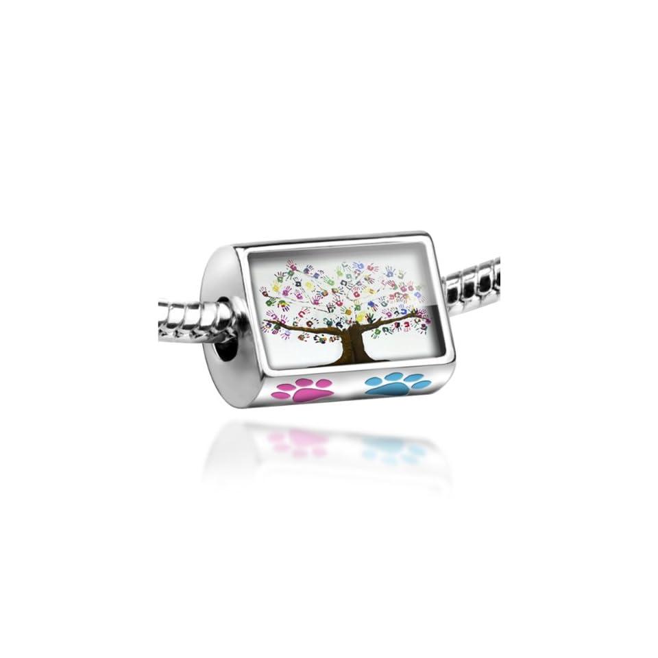 "Neonblond Bead Dog/Cat Paw ""Tree of Life Art, Children, Family, Love""   Fits Pandora charm Bracelet Jewelry"