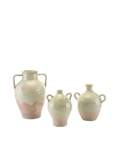 John-Richard Collection Set of 3 Hand-Thrown Vases, Green Ice