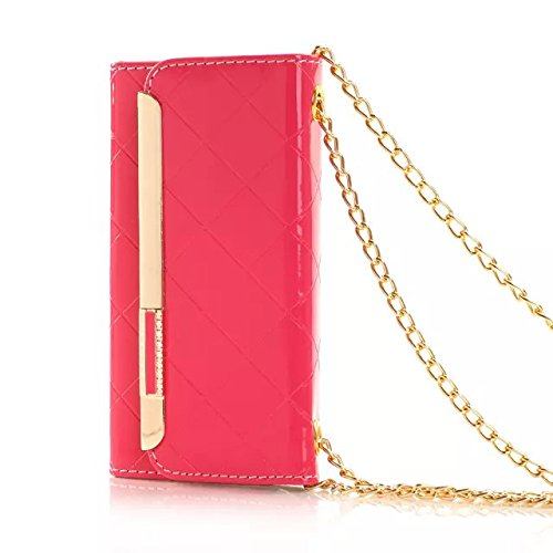 "(Case for Iphone 6/4.7 inch) Bon Venu Smart Leather Flip Case Lady bag purse Elegant Purse Wallet Creadit Card Holder Flip Case Cover Design for Apple iPhone 6 4.7"" case + Shoulder Chain Luxury case wallet+Screen Protector (Pink)"
