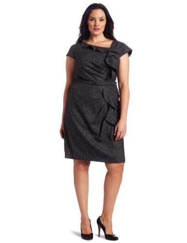 Jessica Howard Women's  Tweed Asymmetrical Ruffle Dress