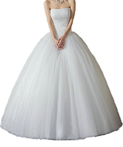 fbb33a19ae Zorabridal Women s Princess Strapless Lace Tulle Floor Length Ball Gown  Wedding Dress (20 Plus