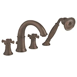 American Standard 7420.921.224 Portsmouth Deck-Mount Tub Filler with Personal Shower with Cross Handles, Oil Rubbed Bronze
