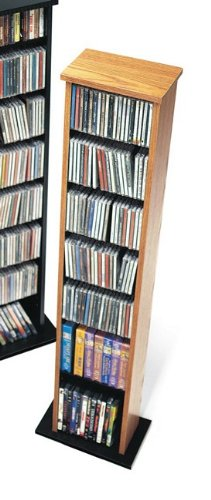 Prepac OMA-0160 Oak & Black Slim Multimedia Storage Tower