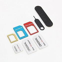 Studio X 【Amazon即日出荷】カラフル アルミニウム製 Nano SIM MicroSIM変換アダプター5点セット for iPhone6S / 6plus/6/5S/5C/4S/4/3GS/3用 X SimC