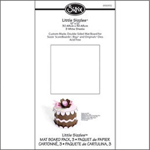 "Sizzix Little Sizzles - 12"" X 12"" Mat Board Pack, 3 White Sheets"