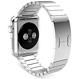 FineCase Apple Watch Band with Custom Butterfly Closure, Stainless Steel Replacement Link Bracelet for 38mm Apple Watch All Models (silver-2)