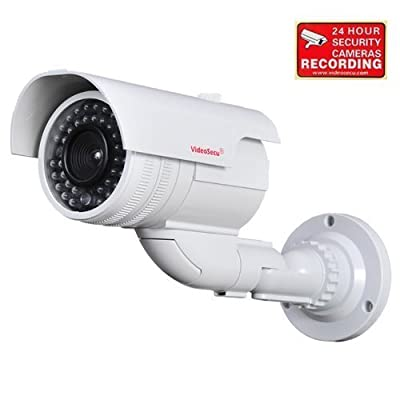 VideoSecu Fake Bullet Dummy Imitation Security Camera Simulated Decoy Infrared IR LED with Blinking Light WL4
