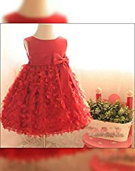 Snoby Red party frock- cut flowers design(SBYkk545)