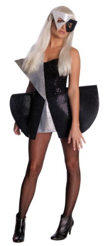 Lady Gaga Black Sequin Dress,Black/Silver