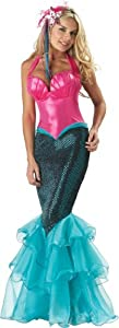 InCharacter Costumes, LLC Mermaid Fitted Gown, Pink/Blue, Large