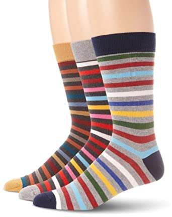 PACT Men's 3-Pack All Stripe Classics Crew Sock, Multi Colored, One Size
