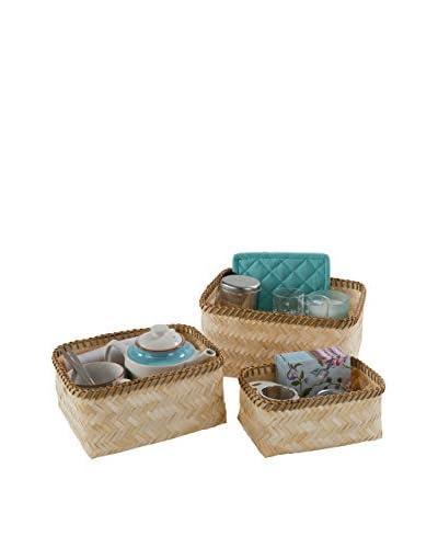 Compactor Set De 3 Cestas De Bamboo Pintado Natural