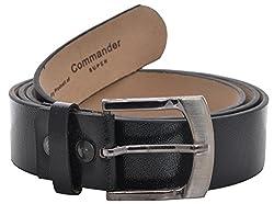 Fashno Men's Leather Belt (FBLT- BL - 01, Black, Free-Size)