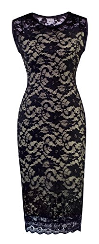 HOMEYEE Women's Floral Lace Cocktail Party Sheath Dress S09 (US Size 8, Black)