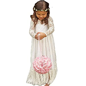 Wallbridal Vintage Long Sleeves Soft Princess Lace Flower Girl Junior Girl Dress