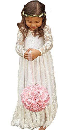 Wallbridal Vintage Long Sleeves Soft Princess Lace Flower Girl Junior Girl Dress 0