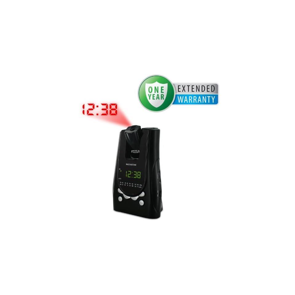 Magnasonic MAG MM171K AM/FM Projection Alarm Clock Radio with Battery Backup & Dual Time Display & Bonus 1 Year Warranty