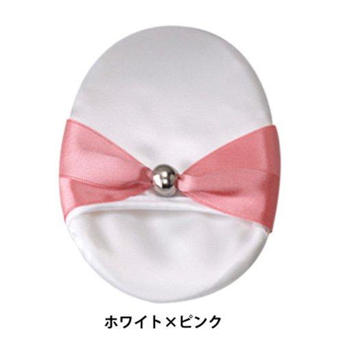 京都シルク化工 シルク洗顔パフ ホワイト×ピンク