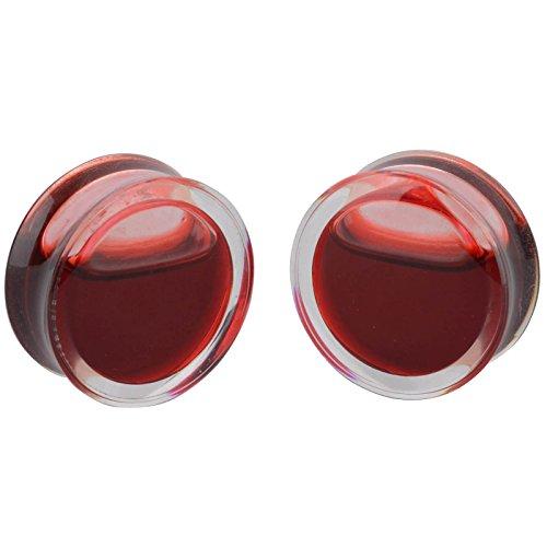 iDealhereTM-1Paar-Rot-Blood-Flssigkeit-Flesh-Tunnel-Liquid-Ohrstpsel-Piercing-Ohrschmuck-Acryl-Transparent-10mm