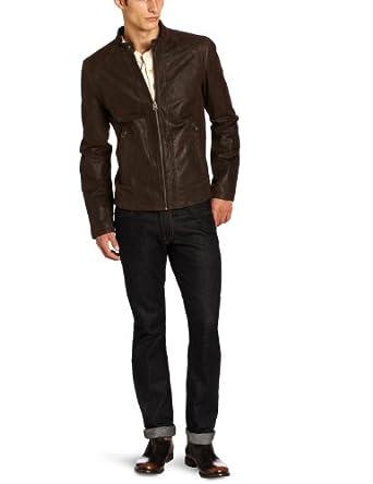 Levi's Men's Leather Racer Quilted Shoulders Jacket, Dark Brown, Medium