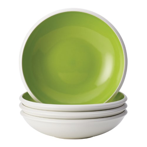Rachael Ray Dinnerware Rise Collection 4-Piece Stoneware Soup and Pasta Bowl Set, Green