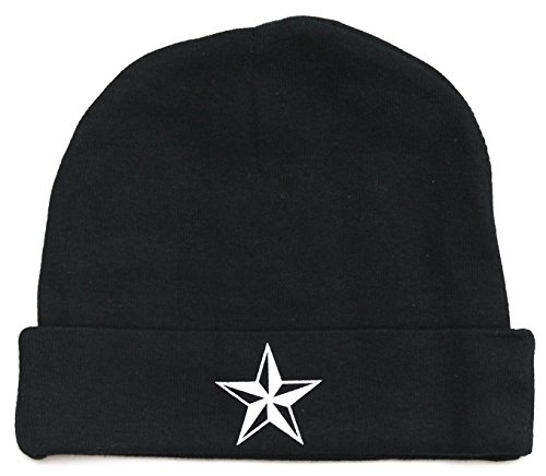Crazy Baby Clothing White Star Baby Beanie One Size in Color Black