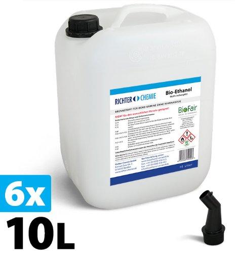 60l 6x10l bioethanol 100 markenprodukt biofair gepr fte laborqualit t gratis versand. Black Bedroom Furniture Sets. Home Design Ideas