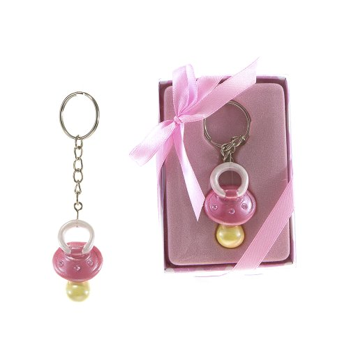 "Lunaura Baby Keepsake - Set of 12 ""Girl"" Baby Pacifier with Crystals Key Chain Favors - Pink - 1"