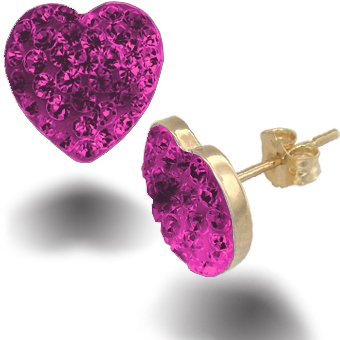 Jewelco London 9ct Gold sparkling Crystal set Heart Studs - Fuchsia Hot Pink