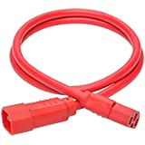Tripp Lite 3ft Heavy Duty Computer Power Extension Cord 15A, 14 AWG, C14 To C15, Red 3'(P018-003-ARD)