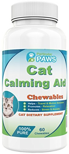 Cat Calming Aid - Passion Flower, Hops Flower Extract, Dextrose, Brewers Yeast, Calcium, Magnesium, Vitamin B6 - 60 Chewables