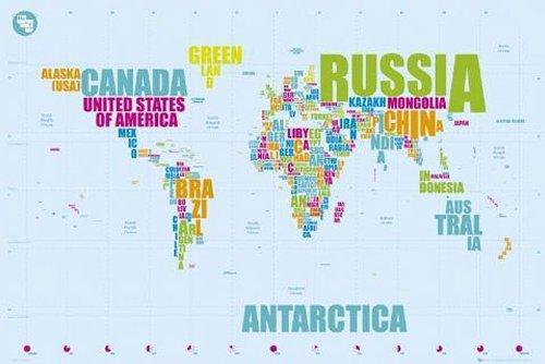 Weltkarte als Poster | Weltkarte aus Ländernamen