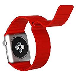 Apple Watch Band, JETech 42mm Genuine Leather Loop with Magnet Lock Strap Replacement Band for Apple Watch 42mm All Models No Buckle Needed (Red) - 2182