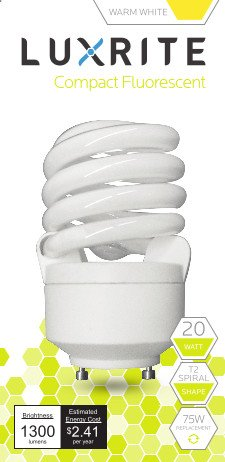 Luxrite LR22310 (4-Pack) CF20 20-Watt CFL T2 Spiral Bulb, Equivalent To 75W Incandescent, Warm White 2700K, 1300 Lumens, GU24 Bi-Pin Base (Lightbulbs With Prongs compare prices)