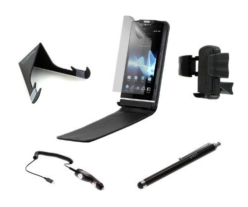 Kit-Handy-Zubehör-Set Das Ultimative Sechser-Pack bestehend aus Hülle Kfz-Ladegerät Ständer Eingabestift Halterung Displayschutz für Sony Ericsson Xperia S