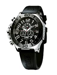 Offshore Men's OFF009D Tornade Silver and Black PVD Rubber Chronograph Watch