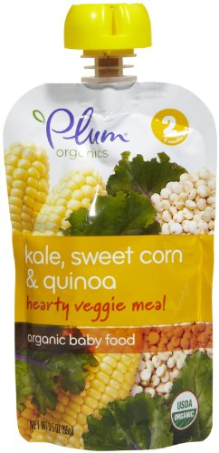 Plum Organics Stage 2 Hearty Veggie Meals - Kale Sweet Corn & Quinoa - 3.5 oz - 6 pk (Plum Organics Baby Food Kale compare prices)