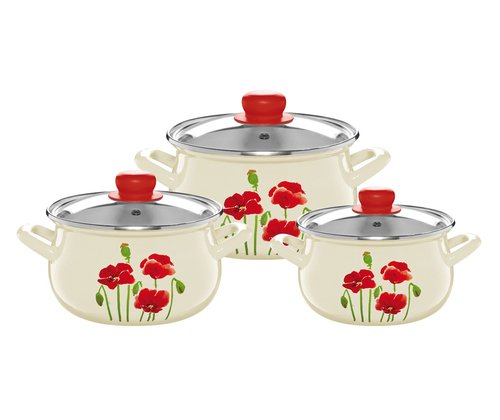 enameled cookware set with glass lids pyza best stockpots reviews. Black Bedroom Furniture Sets. Home Design Ideas