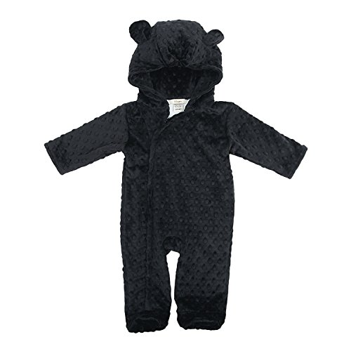 My Blankee Hooded Footie Romper Minky Dot with Ears, Black, 3-6 Months