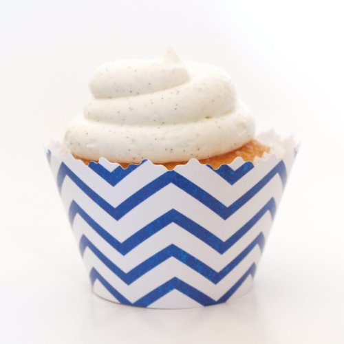 Navy Blue Chevron Cupcake Wrapper - Set Of 12 - Wedding Reception, Anniversaries, Boy Baby Showers