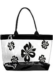 Women Transparent Hibiscus / Flower Printed Casual Shoulder Tote Beach Bag