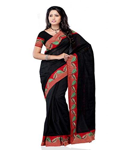 Meghdoot Black Colour Tassar Saree (Multicolor)
